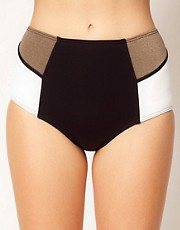 Baku - Slip bikini colour block a vita alta