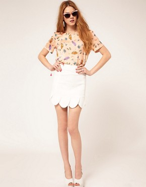 Image 1 ofASOS Mini Skirt With Petal Hem