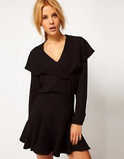 ASOS Blouse With Waterfall Wrap Front