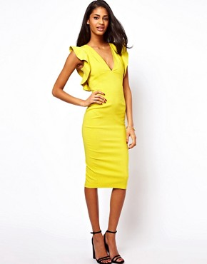 Image 1 ofASOS Pencil Dress With Ruffles