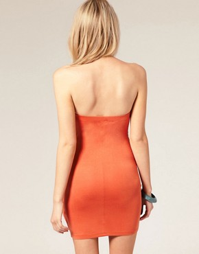 Image 2 ofASOS PETITE Exclusive Drape Front Strapless Dress