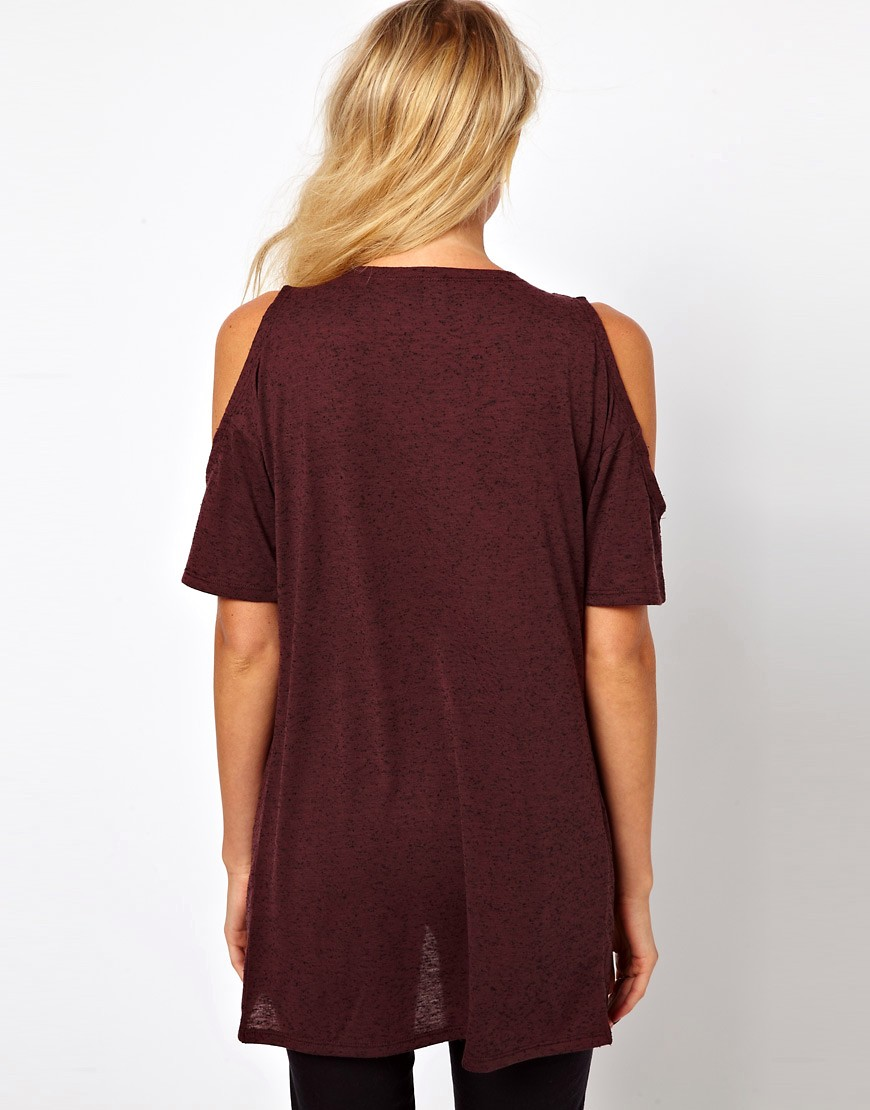 Image 2 of ASOS T-shirt with Cross Over Cold Shoulder in Neppy