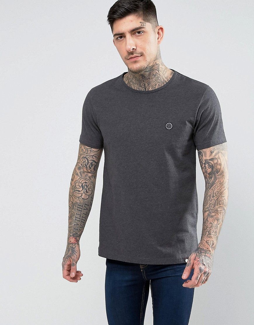 Pretty Green Mitchell Crew Neck T-Shirt in Grey - Dark grey marl