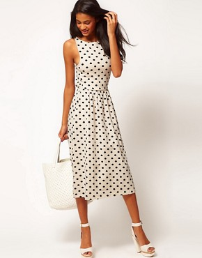 Image 1 ofASOS Midi Dress In Spot Print