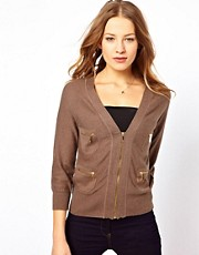 Juicy Couture Zip Front Cashmere Mix Cardigan