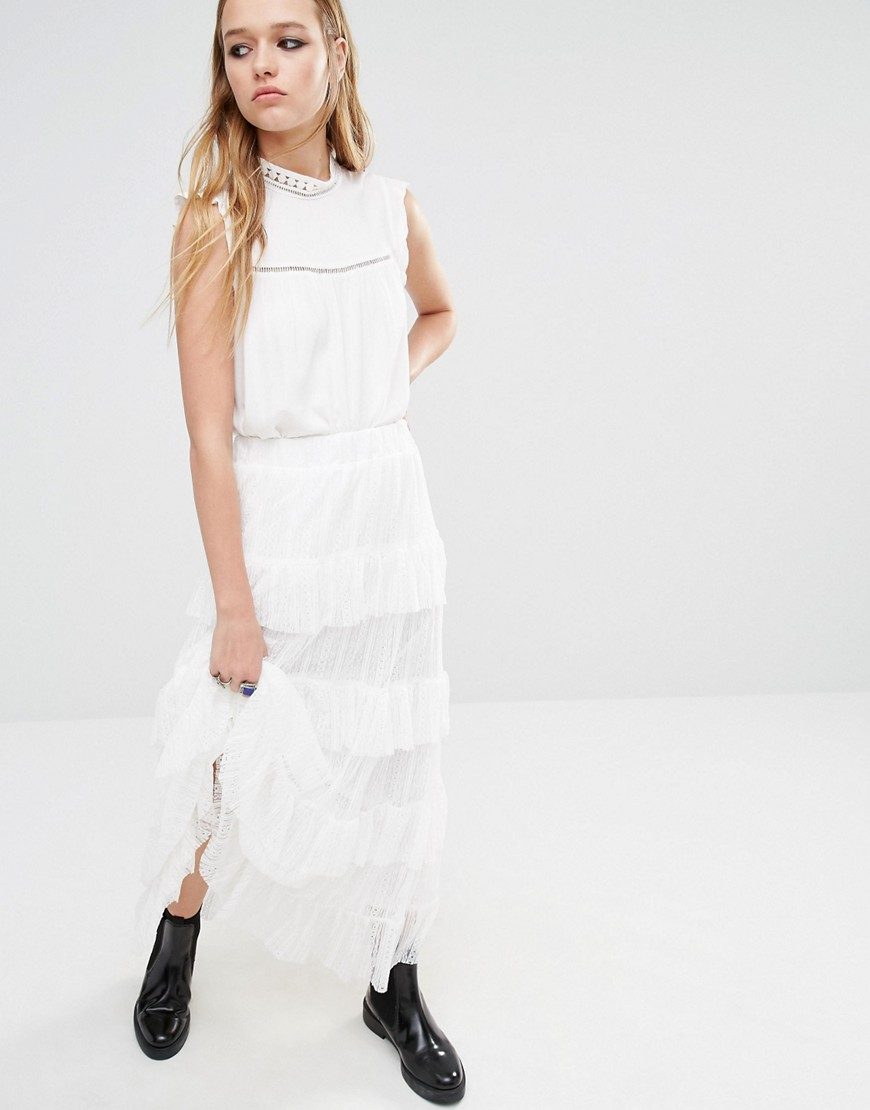 Navy London Maxi Skirt With Lace Tiers - White