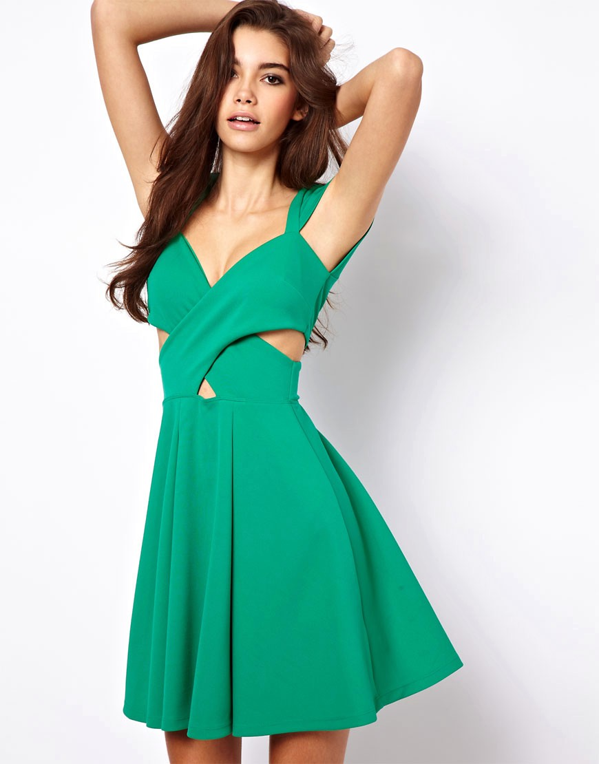 Image 1 of ASOS Skater Dress With Cut Out Sides