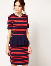 Boutique by Jaeger Peplum Body Con Dress in Stripe
