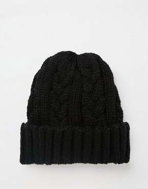 7X Cable Banie Hat In Black