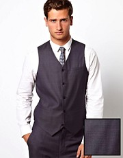 ASOS Slim Fit Waistcoat in 100% Wool Birdseye