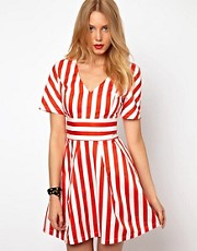 Lavish Alice Skater Dress In Stripe
