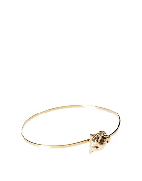 Image 1 ofASOS Fine Bangle with Lion Head Clasp
