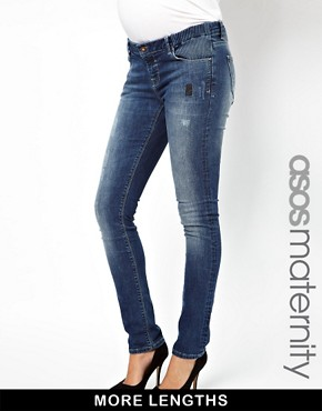 Image 1 ofASOS Maternity Elgin Skinny Jeans With Distressed Vintage Finish
