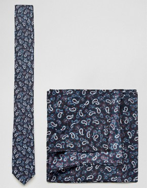 ASOS Tie and Pocket Square Pack With Paisley Design In Navy