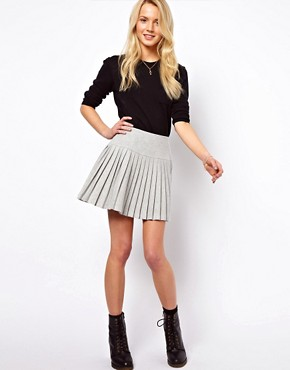 Image 1 ofASOS Pleated Mini Skirt with Drop Waist