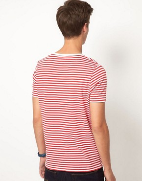 Image 2 ofASOS Stripe T-Shirt With Flag Print