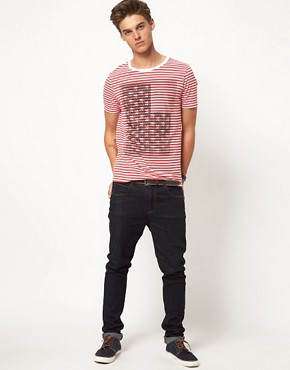 Image 4 ofASOS Stripe T-Shirt With Flag Print
