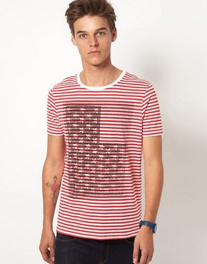 Image 1 ofASOS Stripe T-Shirt With Flag Print
