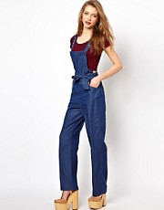 Viva Vena Patch Pocket Denim Dungarees in Chambray