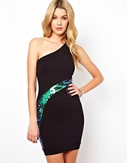 Quontum One Shoulder Dress With Mermaid Sequin Panel