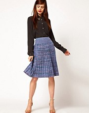Jonathan Saunders Leonard Pleated Skirt in Spacedye Cotton