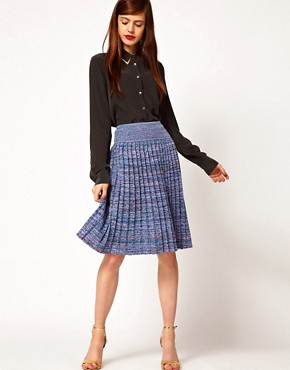 Image 1 ofJonathan Saunders Leonard Pleated Skirt in Spacedye Cotton