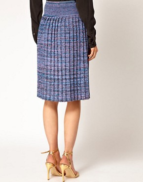 Image 2 ofJonathan Saunders Leonard Pleated Skirt in Spacedye Cotton