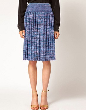 Image 4 ofJonathan Saunders Leonard Pleated Skirt in Spacedye Cotton