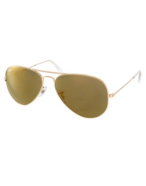 Image 1 ofRay-Ban Crystal Gold Mirror Aviator Sunglasses