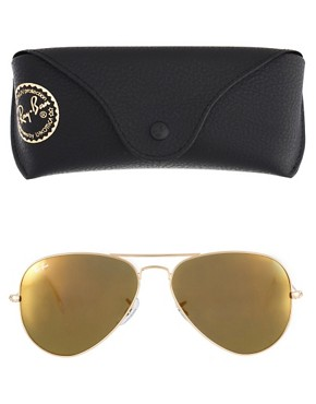 Image 2 ofRay-Ban Crystal Gold Mirror Aviator Sunglasses