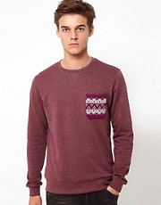 ASOS Sweatshirt With Aztec Print Pocket