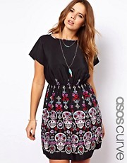 ASOS CURVE Exclusive Skater Dress In Skull Border Print
