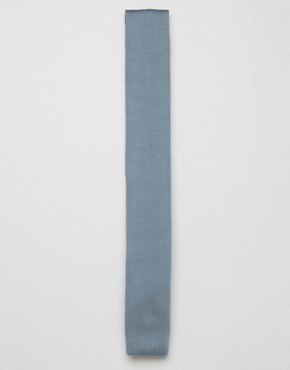 ASOS Knitted Wedding Tie In Dusty Blue