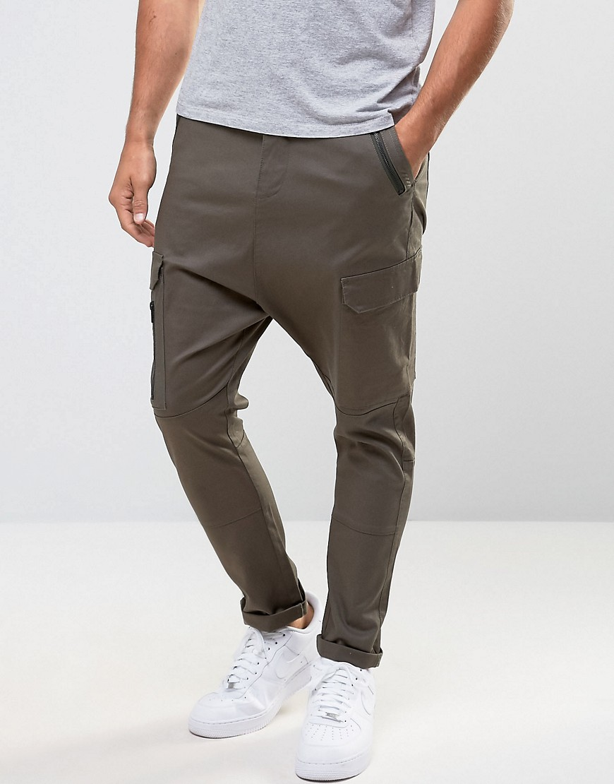 ASOS Drop Crotch Cargo Trousers with Zip Details in Khaki - Forest night