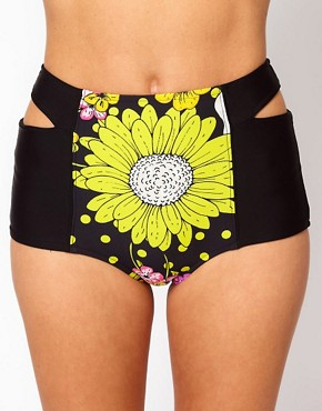 River Island Dita Floral Print High Waist Bikini Brief