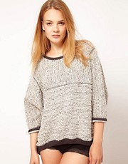 Oysho Oversized Lounge Knit With Contrast Bindings