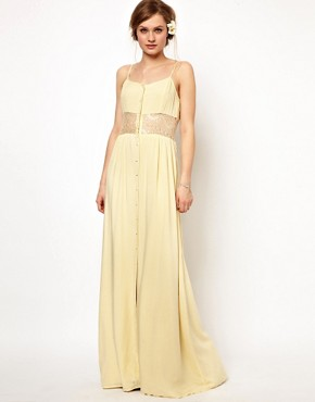 Image 4 ofJarlo Maxi Dress with Lace Inserts and Button Detail