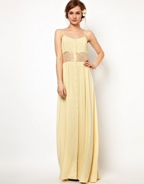 Image 1 ofJarlo Maxi Dress with Lace Inserts and Button Detail