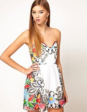 Alice McCall Printed Organza Bandeau Dress