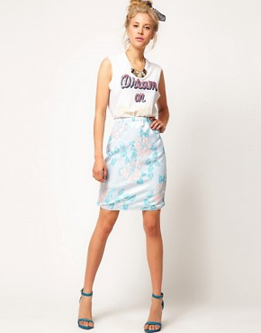 Image 1 ofASOS Premium Pencil Skirt in Pastel Floral
