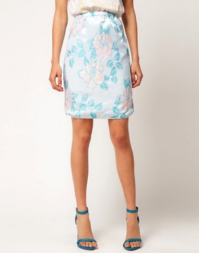Image 4 ofASOS Premium Pencil Skirt in Pastel Floral