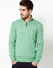 Polo Ralph Lauren Silk Jumper in Cable Knit with Half Zip