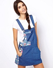 ASOS Denim Pinafore Dress with Floral Blocking