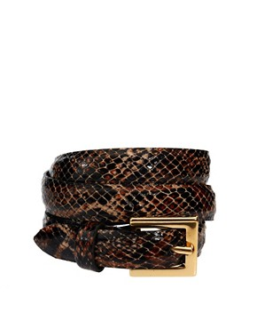 Image 1 of Black & Brown Lily Leather Slim Belt