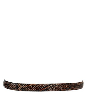 Image 3 of Black & Brown Lily Leather Slim Belt