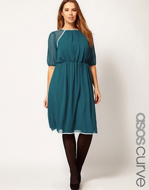Image 1 ofASOS CURVE Midi Dress With Contrast Piping