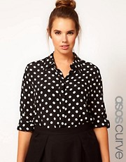 ASOS CURVE Shirt in Spot Print