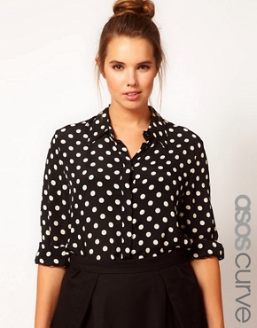 Image 1 ofASOS CURVE Shirt in Spot Print