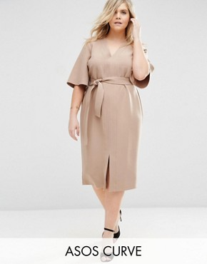 ASOS CURVE V Neck Tie Waist Dress