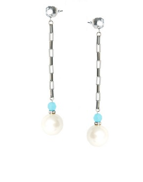 Image 1 of ASOS Pearl Chain Drop Earrings